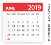 june 2019 calendar leaf  ... | Shutterstock .eps vector #1147969319