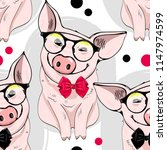 Vector seamless pattern with pigs. Pigs with glasses and bows.