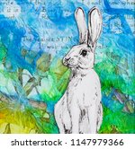 Stock photo white rabbit drawing on colourful blue green background original artwork mixed media collage 1147979366