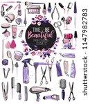 professional makeup artist tool ... | Shutterstock .eps vector #1147982783