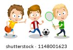 three cheerful lads have hobby... | Shutterstock .eps vector #1148001623