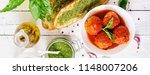 meatballs in tomato sauce and... | Shutterstock . vector #1148007206