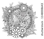 adult coloring page with... | Shutterstock .eps vector #1148008643
