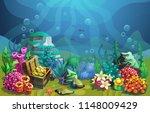 vector underwater world.... | Shutterstock .eps vector #1148009429