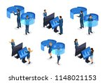 isometric businessmen with... | Shutterstock .eps vector #1148021153