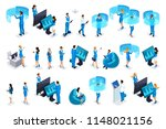 isometric set businessmen with... | Shutterstock .eps vector #1148021156