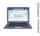 laptop with social network... | Shutterstock .eps vector #1148024360