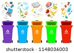 recycling garbage elements. bag ... | Shutterstock .eps vector #1148036003