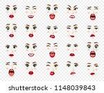 comic emotions. women facial... | Shutterstock .eps vector #1148039843