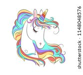 cute white unicorn with rainbow ... | Shutterstock .eps vector #1148048576