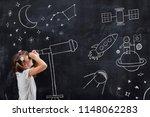schoolgirl standing in front of ... | Shutterstock . vector #1148062283