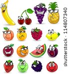 cartoon fruits and vegetables... | Shutterstock .eps vector #114807340