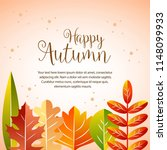 happy autumn border with half... | Shutterstock .eps vector #1148099933