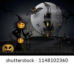 halloween party bats flying in...   Shutterstock .eps vector #1148102360