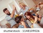 friends having great time... | Shutterstock . vector #1148109026