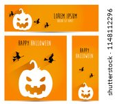 simple halloween pumpkin vector ... | Shutterstock .eps vector #1148112296