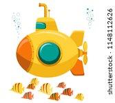 yellow submarine undersea with...   Shutterstock .eps vector #1148112626
