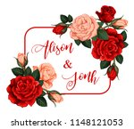 rose flower frame for wedding... | Shutterstock .eps vector #1148121053