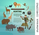 hunting open season poster of... | Shutterstock .eps vector #1148123963
