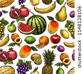 fruits sketch seamless pattern. ... | Shutterstock .eps vector #1148128106