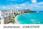 waikiki beach and diamond head... | Shutterstock . vector #1148157659