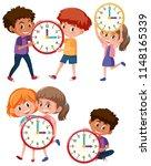 children and time on white... | Shutterstock .eps vector #1148165339