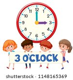 3 o'clock and students... | Shutterstock .eps vector #1148165369