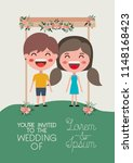 wedding invitation card with... | Shutterstock .eps vector #1148168423
