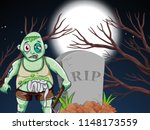 a zombie at the graveyard... | Shutterstock .eps vector #1148173559