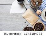 top view of coffee lover... | Shutterstock . vector #1148184773