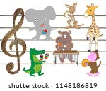 the animals are playing and... | Shutterstock .eps vector #1148186819