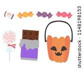 jack o lantern candy pumpkin set | Shutterstock .eps vector #1148198153