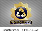 gold shiny badge with recycle... | Shutterstock .eps vector #1148213069