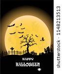 halloween on the full moon... | Shutterstock .eps vector #1148213513