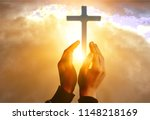 human hands open palm up worship | Shutterstock . vector #1148218169