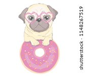 cute pug and happy face on a... | Shutterstock . vector #1148267519