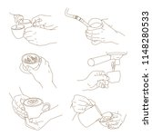 coffee and barista's hand line... | Shutterstock .eps vector #1148280533
