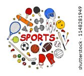 set of sports items doodles... | Shutterstock .eps vector #1148281949