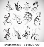 vector ornament flowers vintage ... | Shutterstock .eps vector #114829729