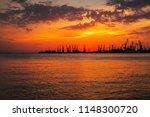beautiful landscape with fiery...   Shutterstock . vector #1148300720
