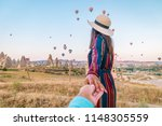 happy young couple man and... | Shutterstock . vector #1148305559