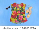 blouse with floral print with... | Shutterstock . vector #1148312216