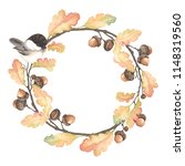 autumn wreath with bird black... | Shutterstock .eps vector #1148319560