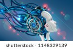 cybernetic head  of robot woman ... | Shutterstock .eps vector #1148329139