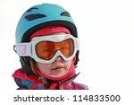 Little girl with ski helmet - stock photo