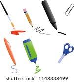 stationery  marker pen scissors ... | Shutterstock .eps vector #1148338499