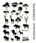 Stock vector set of wild african animals 1148346206