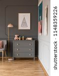 real photo of a grey cupboard...   Shutterstock . vector #1148359226