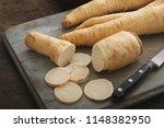 preparing racine root parsley | Shutterstock . vector #1148382950