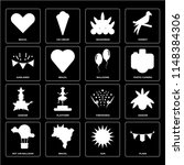 set of 16 icons such as flags ...